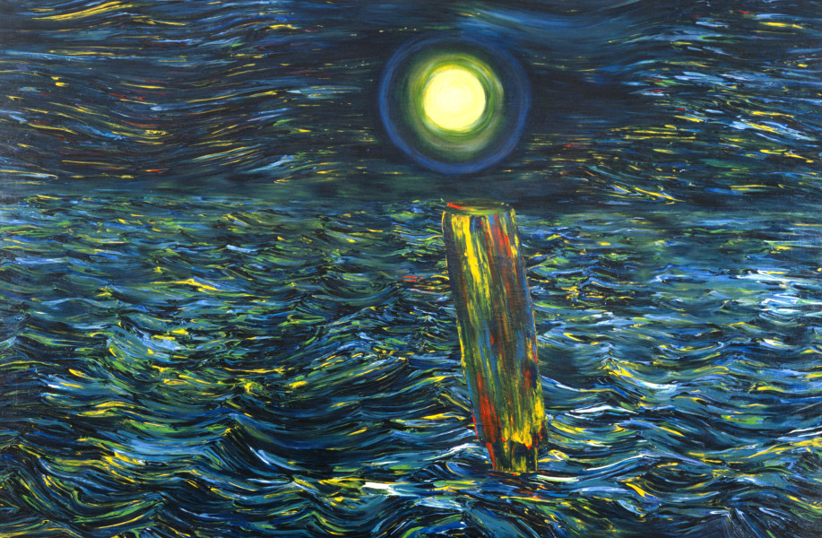 Dale Frank The Little I and the Rotten Peer Approaching High Tide, 1985; acrylic on canvas; 200 x 300 cm; enquire