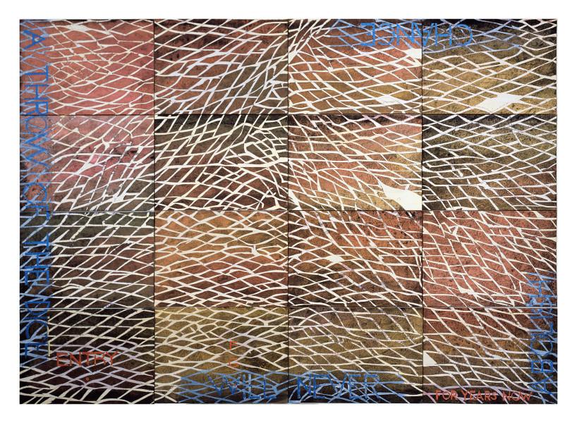 Imants Tillers Nature Speaks: FG, 2015; acrylic, gouache on 16 canvas boards, nos. 95341 - 95356; 100.5 x 141 cm; enquire