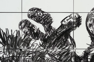 Pierre Mukeba Sin For Sale (detail), 2021; charcoal on archival paper; 120 x 210 cm; enquire