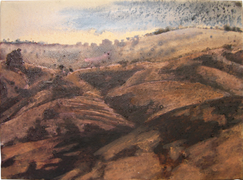 Mandy Martin Near Wyangala 1, 2004; ochre, pigment and acrylic on Arches paper; 30 x 40 cm; enquire