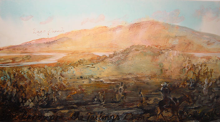 Mandy Martin Lost Landscape; the Tailings Dam, 2002; oil, ochre and pigment on linen; 125 x 243 cm; enquire