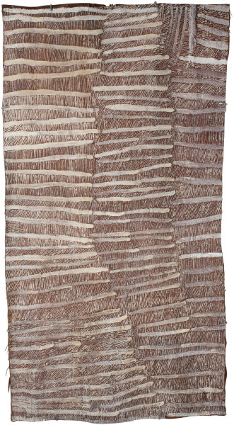 Nyapanyapa Yunupingu Untitled, 2016; 4995E; Bark painting; 122 x 64 cm; enquire