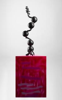 Del Kathryn Barton soft river yr girl too, 2018; bronze, hand-finished acrylic, MDF; sculpture: 95.5 x 30 x 30 cm, 13kg; plinth: 75 x 57 x 57 cm; Enquire