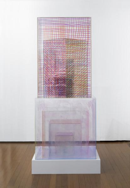 Teppei Kaneuji Model of Something #5, 2013; oil based marker on acrylic box; 210 x 90 x 90 cm; enquire