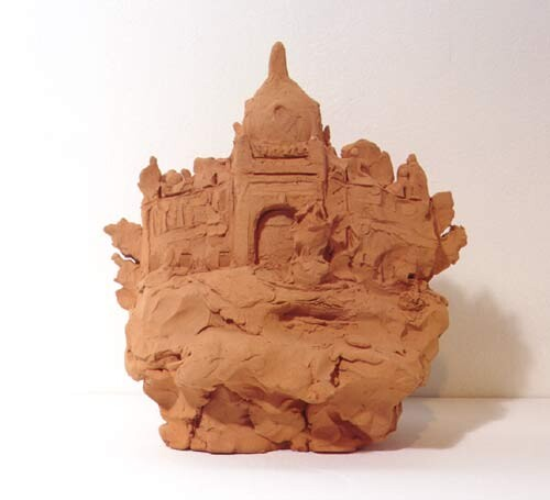 Linda Marrinon Exhibition Buildings, Melbourne, 1998; from the series Sculpture For The Home; Terracotta; 21 x 20 x 14 cm; enquire