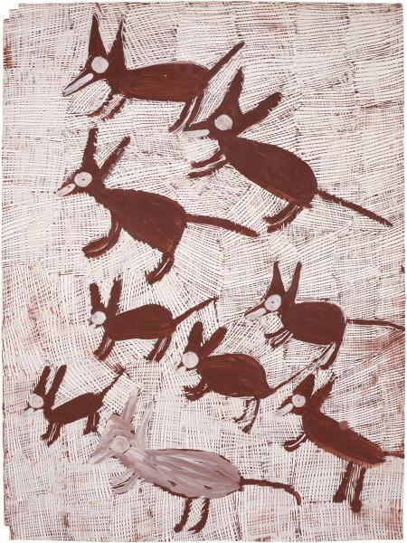 Nyapanyapa Yunupingu Djorra (paper) 6, 2014; TPA080; felt tip pen, earth pigments on discarded print proofs; 75 x 56 cm; Enquire