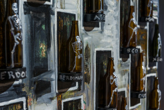 Fiona Hall ALLSTARS - drunk on power: myopic men of 2020 (detail), 2020; oil paint on glass and linoleum; 150 x 150 x 10 cm; enquire