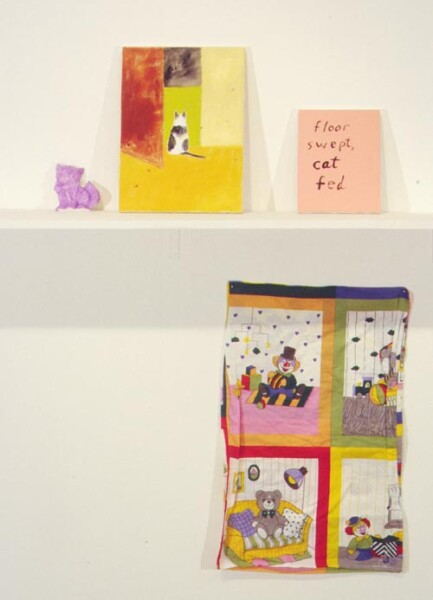 Jenny Watson Floor Swept, Cat Fed  No. 4 (Edward), 1999; acrylic on stretcher, painted plaster mould, rabbit skin glue-primed pillow slip; 16'' x 12'', 10'' x 8'', 4'' x 6'', 30'' x 18''; enquire