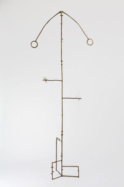 Caroline Rothwell Retort #3, 2017; bronze, laboratory glassware, water, Britannia metal; sculpture in two parts; 217 x 84 x 84 cm; enquire