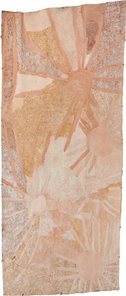 Nyapanyapa Yunupingu Ganyu Djulpan, 2019; 7196-19; natural earth pigments on bark; 255 x 108 cm; enquire