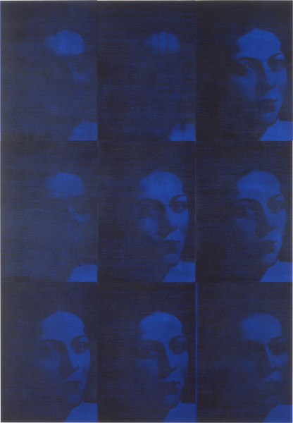 Lindy Lee Transmute, 1995; photocopy and acrylic on Stonehenge paper; 123 x 86 cm; 9 panels; enquire