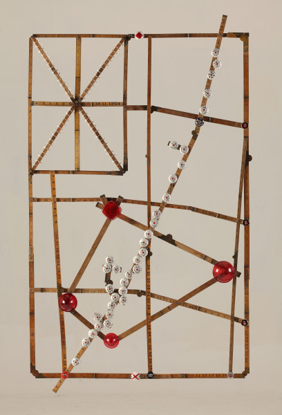 Fiona Hall Listing to Starboard, 2011; wood, tin, wire, plastic, thread, sharks' teeth; 138 x 86 cm; enquire