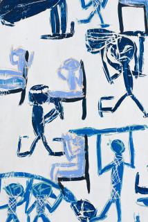 Dhambit Munuŋgurr Treaty (detail), 2021; 1468-21; earth pigments and acrylic on bark; 234 x 100 cm; enquire