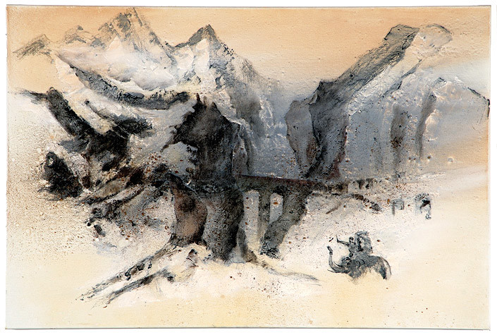 Mandy Martin Wanderers in the desert of the real; Hanibal passing over the Alps, after Turner, 2008; Ochre, pigment, and oil on linen; 100 x 150 cm; enquire