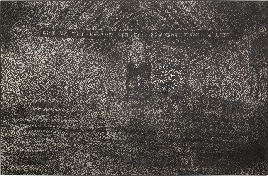 Daniel Boyd Untitled (YC), 2013; oil, charcoal and archival glue on polyester; 196 x 300 cm; enquire