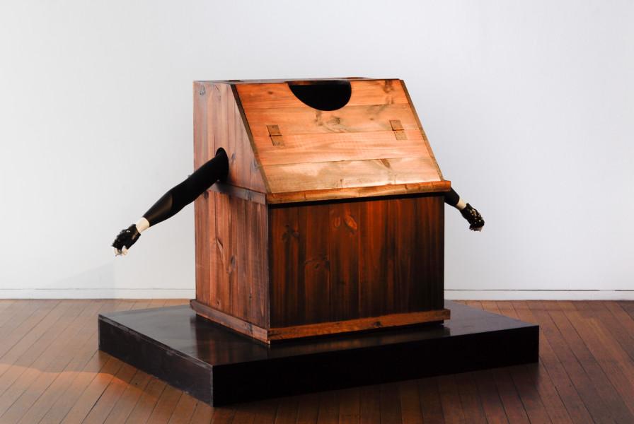 TV Moore The Margery's Box / N.A.N., 2007; wood, black paint, fibreglass, nails, varnish, wax, treated hinges, treated screws, vinyl, sponge, glue; sculpture: 105 x 185 x 75cm; plinth: 16.5 x 155 x 120cm; enquire