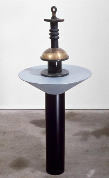 Robert Owen Generator of Silence, 1985; plastic, galvanized iron, brass, steel & rubber; 93 x 39 x 39 cm; enquire