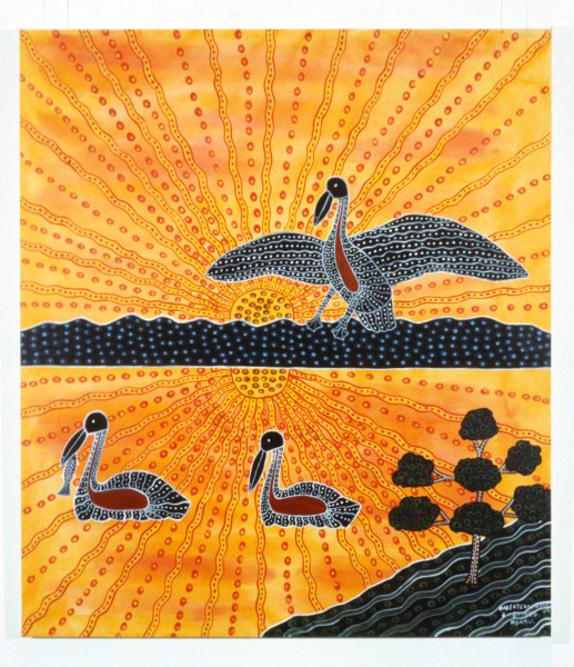 Robert Campbell Jnr Pelicans at Sunrise on The Lake, 1988; acrylic on canvas; 122 x 107 cm; enquire