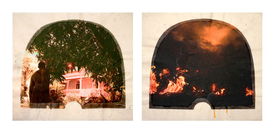 Tracey Moffatt Plantation (Diptych No. 12), 2009; digital print with archival pigments, InkAid, watercolour paint and archival glue on handmade Chautara Lokta paper; 46 x 50.5 cm (each); Edition of 12 + AP 2; enquire