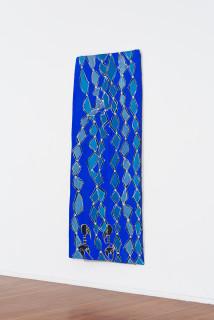 installation view; Dhambit Munuŋgurr Djirikitj, 2021; 2025-21; earth pigments and acrylic on bark; 241 x 103 cm; enquire