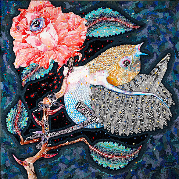 Del Kathryn Barton wilder grew her song, 2012; acrylic, gouache, watercolour and ink on polyester canvas; 160 x 180 cm; enquire
