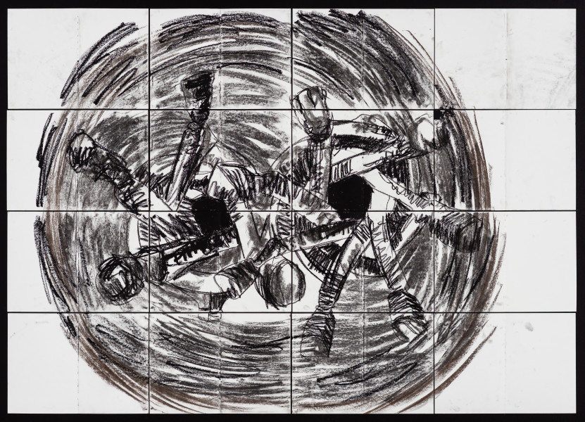 Pierre Mukeba Antinomy Paradox (P3), 2021; charcoal on archival paper; 120 x 168 cm; enquire