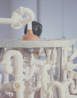 Fiona Hall Incontinent, 1997; laminex, metal, wood, PVC, rubber & glass; variable; enquire