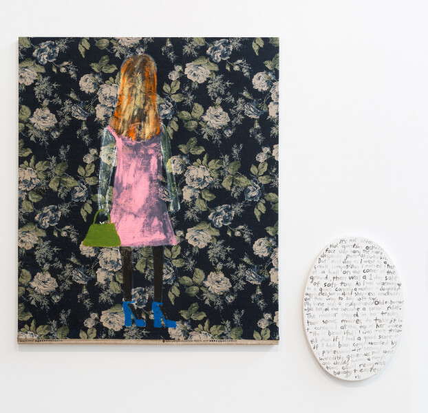 Jenny Watson A mature woman, 2018; acrylic and oil on rabbit skin glue primed Japanese chintz; acrylic on primed canvas; two parts: 107.5 x 91 cm; 51 x 36 cm; enquire