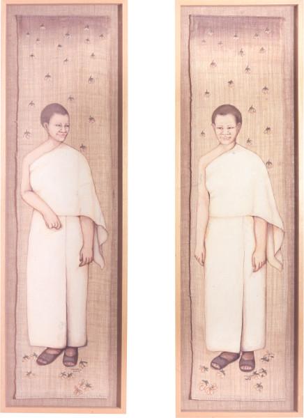 Phaptawan Suwannakudt My Mother was a Nun II, 1999; acrylic on hemp mounted on hemp; diptych, 130 x 35 cm each; enquire