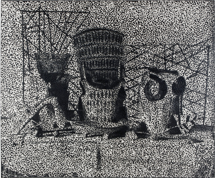 Daniel Boyd Untitled (TI4), 2015; oil and archival glue on linen; 164 x 198 cm; enquire