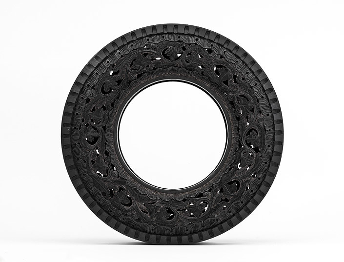 Wim Delvoye Untitled (Car Tyre) 8, 0; handcarved car tyre; 81.5 x 81.5 x 17 cm; enquire