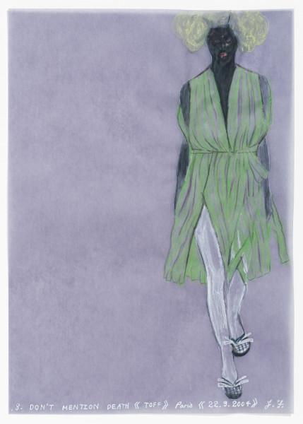 Jacqueline Fraser DON'T MENTION DEATH >, 2004; aquarelle on French calque paper; 30 x 21 cm; enquire