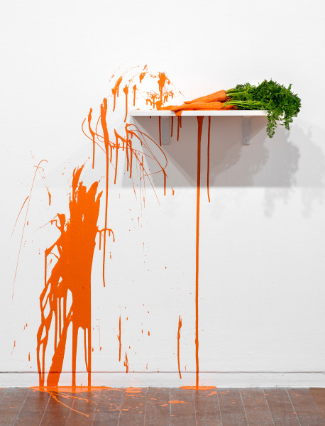 Jim Lambie 14 Carrots, 2019; carrots, enamel paint; 110 x 130 x 60 cm; enquire