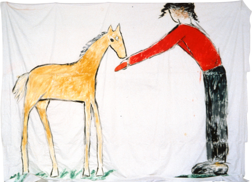 Jenny Watson The Yellow Foal (Purity), 1983; oil on fabric; 396 x 365 cm; enquire