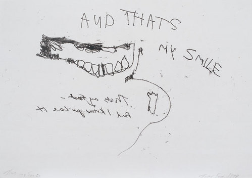 Tracey Emin That's my smile, 1999; black ink on paper; 42 x 60 cm; enquire