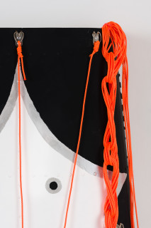 Claire Healy and Sean Cordeiro Okame (detail), 2020; Kiowa helicopter engine cowl assembly, acrylic gouache, cotton sash cord; 107 x 60 x 14 cm; enquire