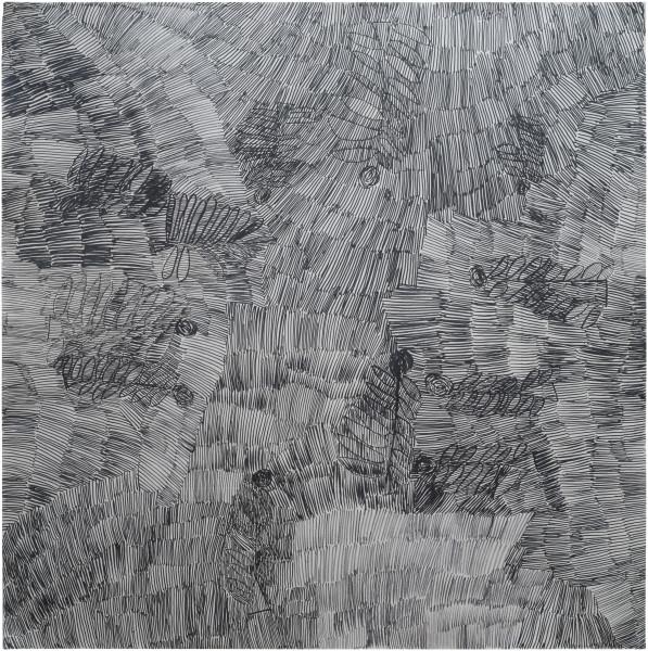 Nyapanyapa Yunupingu Dharpa Malany, 2014; G03; felt tip pen, earth pigments on discarded photography backdrop (paper); 130 x 130 cm; Enquire