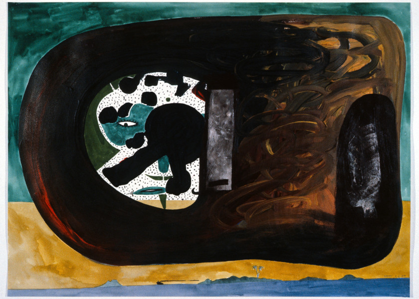 Gareth Sansom Dream, 1989; watercolour, acrylic, ink and collage on paper; 56 x 76 cm; enquire