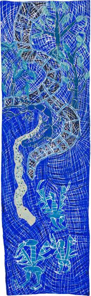 Dhambit Munuŋgurr Wandawuy, 2021; earth pigments and acrylic on bark; 279 x 85 cm; enquire