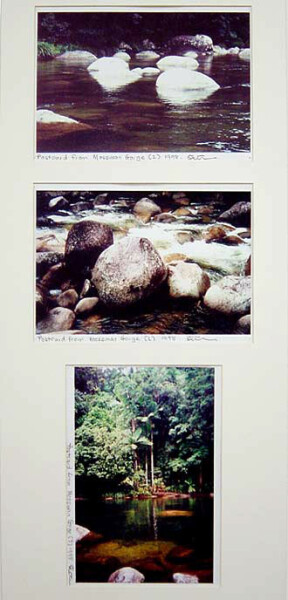 Destiny Deacon Postcard from Mossman Gorge (1) (2) (3), 1998; 3 colour laser prints; 29.7 x 42.2 cm; Edition of 15; enquire
