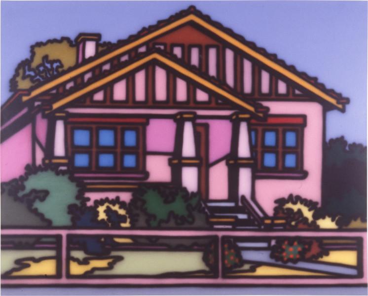Howard Arkley Bungalow Home, 1987; acrylic paint on canvas; 160 x 198 cm; enquire