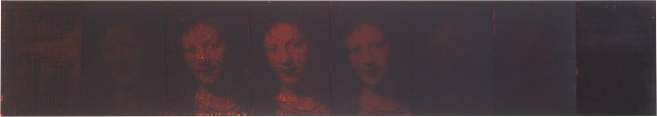 Lindy Lee Honour the Black, 1993; photocopy and acrylic on Stonehenge paper; 41.5 x 232 cm; 8 panels; enquire