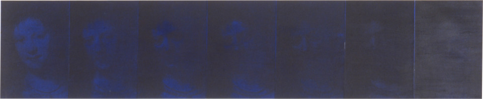 Lindy Lee To Expound the Whole Secret, 1993; photocopy and acrylic on Stonehenge paper; 41.5 x 204 cm; 7 panels; enquire
