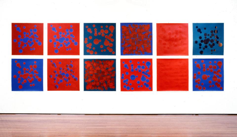 Dale Frank HASHISHIYYUN & RALPMET STHGINK EHT RAW YLOH EHT, 1992; 12 screenprints; 97.5 x 97.5 cm each; enquire