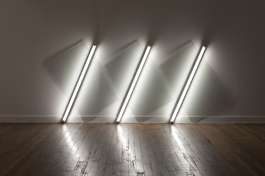 Bill Culbert Moving Moai, 2009; glass, fluorescent lights; 147 x 356 x 10 cm; enquire