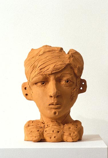 Linda Marrinon Bust with Bowtie, 1994; terracotta; 29 cms high; enquire
