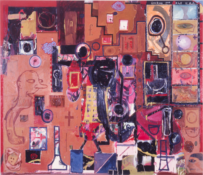 Gareth Sansom Looking for Dale in Abstract Art, 1988; oil and enamel on linen; 198.1 x 228.6 cm; enquire