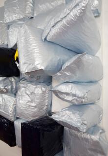 Jim Lambie Other Side of the Sun, 2015; Potato bags, acrylic paint, expanding foam on canvas; 210 x 178 x 60 cm; enquire