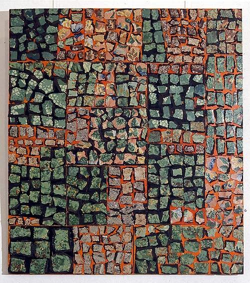 Rosalie Gascoigne Maze, 1992; linoleum, retro-reflective roadsign and plywood; 82 x 73 cm; enquire