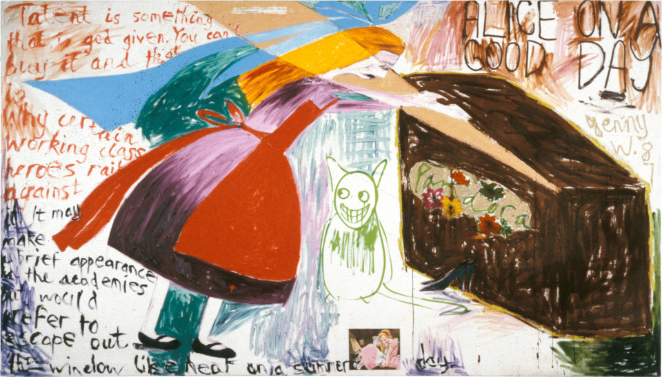 Jenny Watson Alice on a Good Day, 1987; oil, gouache, acrylic, silk cut-outs on duck; 122 x 214 cm; enquire